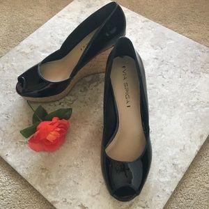 Via Spiga patent leather peep toe cork wedges